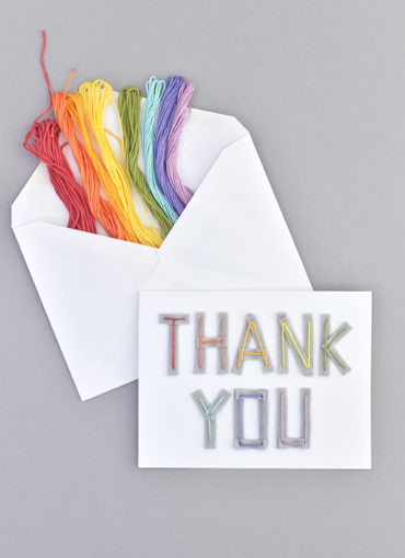 Embroidered Felt Thank You Cards