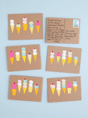Fingerprint Art Ice Cream Postcards