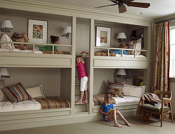 Bunk room with quad bunk beds for sleepovers