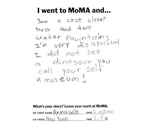 A little girl's thoughts on modern art...