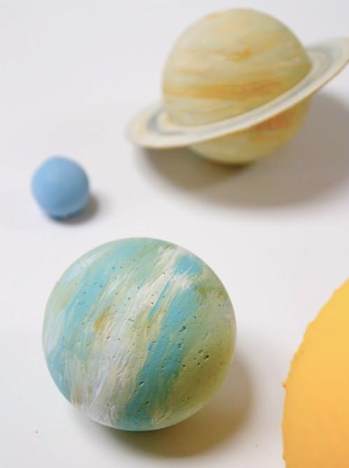 diy painted wood solar system