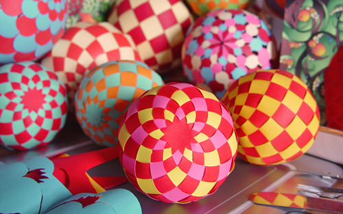 diy paper woven spheres