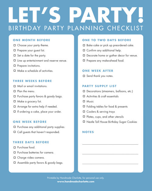 Printable BIrthday Party Planning Checklist