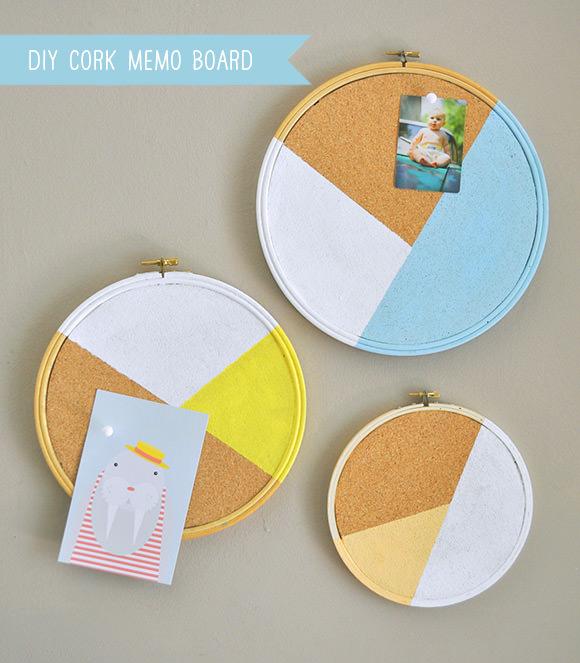 DIY Cork Memo Board Made Using Embroidery Hoops
