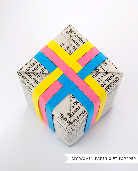 DIY Woven Paper Gift Topper