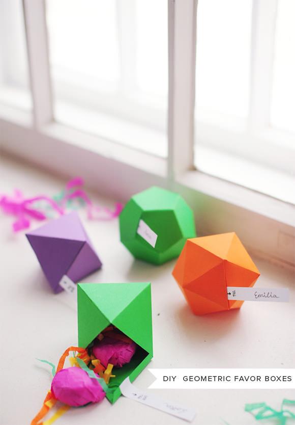 DIY Geometric Party Favor Boxes