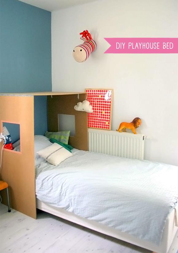 DIY Cardboard Playhouse Bed