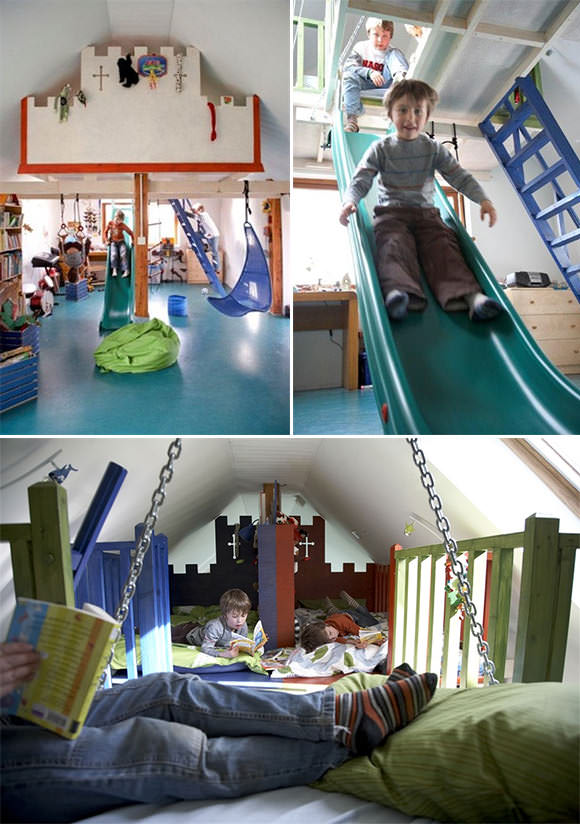 A bedroom / playroom for boys with beds in the loft