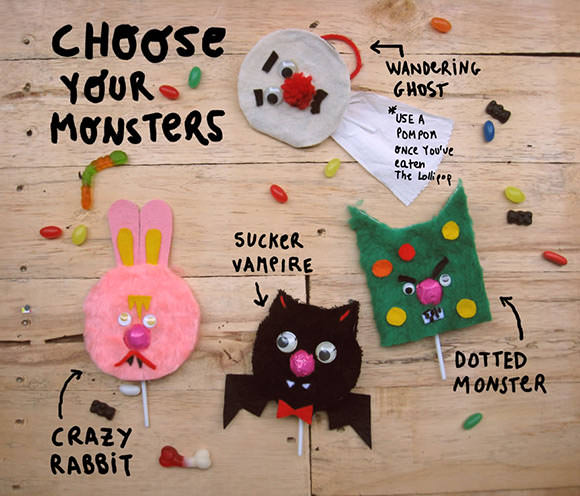 DIY Monster Lollipop Greeting Cards for Halloween