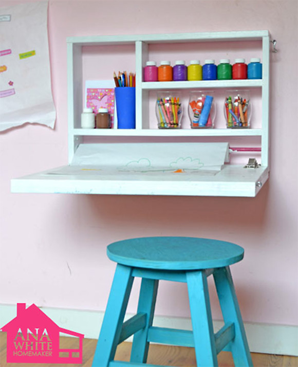 DIY Flip Down Wall Art Desk Project - Free Plans