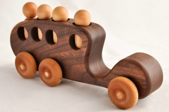 Wooden Toy Passenger Bus via Etsy