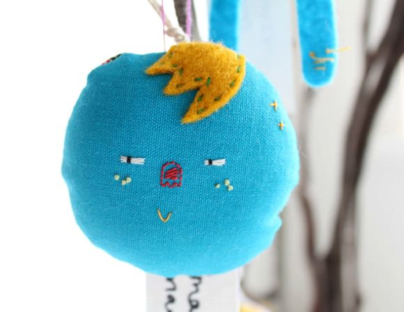 Handmade Blue Bauble Character Decoration from Handmade Romance on Etsy
