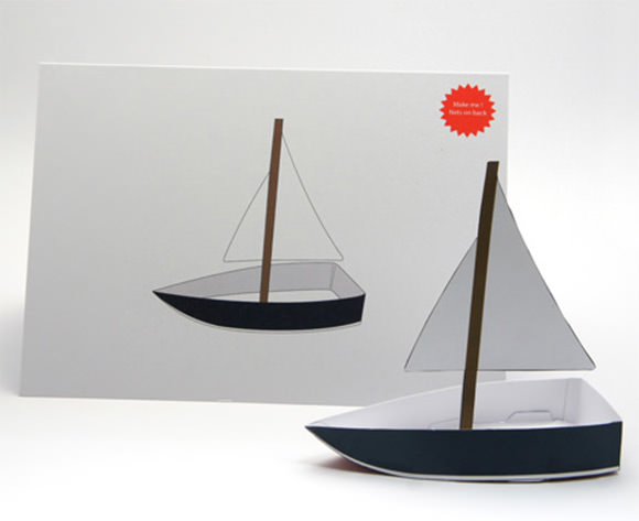 Card that folds into a toy boat by Foldable Cuts