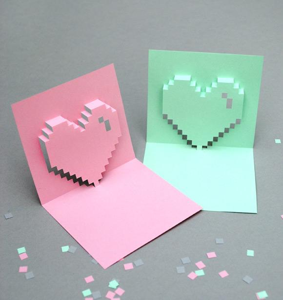 Popup Pixel Valentine's Day Card