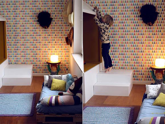fantastic handmade cabin bed in a kid's bedroom in France - love!