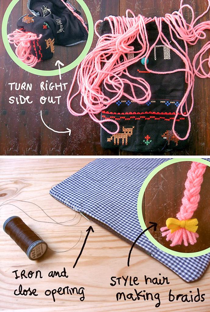 DIY Folksy Cross-Stitch Wall Organizer