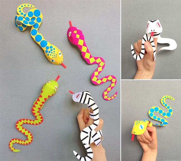 Printable Snake Finger Puppets from Mr Printables