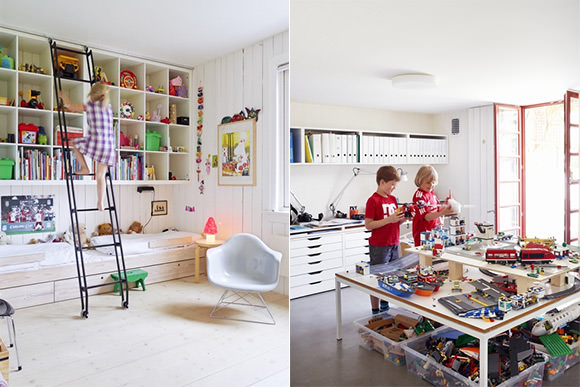 Kid's room & playroom in an Oslo family home - love the play table!