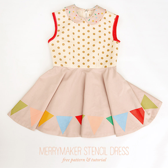 DIY Merrymaker Stencil Dress, free sewing pattern and tutorial