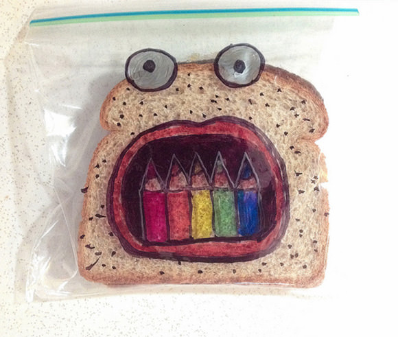 Super dad David Laferriere has been illustrating his kid's sandwich bags since 2008. Gotta love it  -  check out the complete collection!