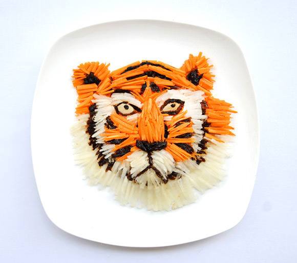 Instagram food art by Hong Yi,  made of chopped carrots, white radish and dried prunes