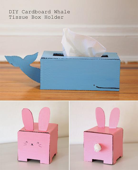 DIY Cardboard Whale & Bunny Tissue Box Holders