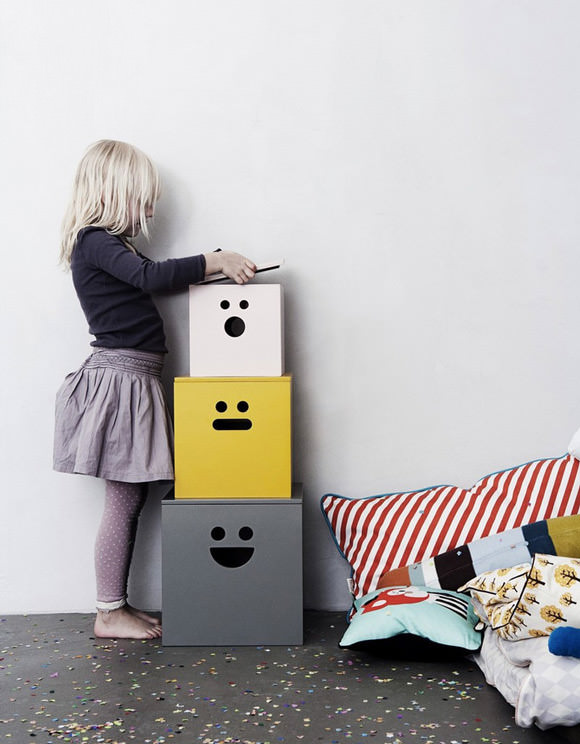 Kids Room Storage - Face Boxes by Ferm Living