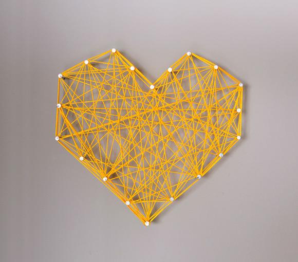 DIY Threaded Heart Wall Art