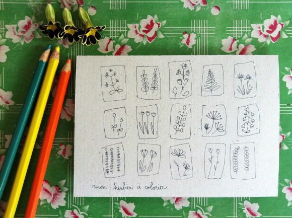 Color-In Wildflower Cards