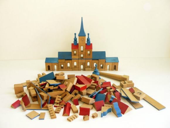 Mid Century Vintage Wooden Toy Town