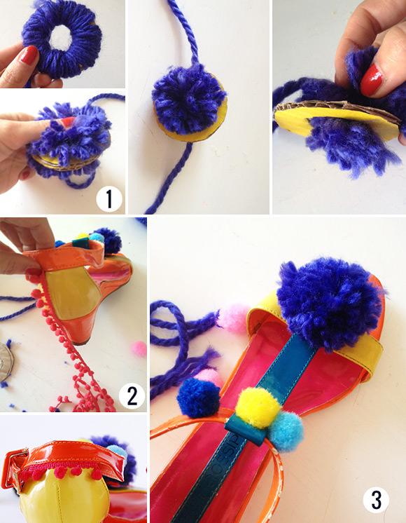 DIY Pom-Pom Sandals: Steps