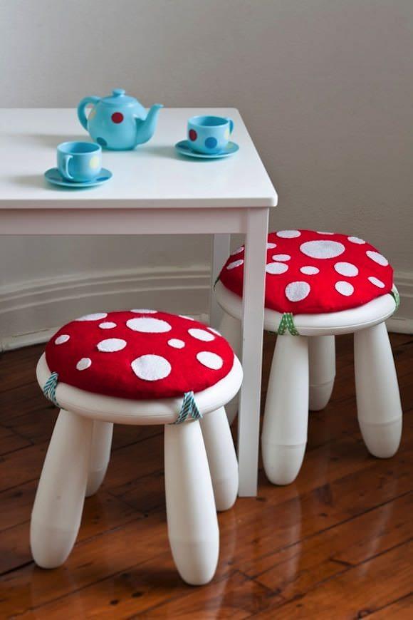 IKEA Hacks for Kids' Rooms: MAMMUTT stool becomes a sweet mushroom