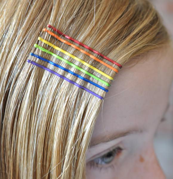 DIY Rainbow Hair Accessories Using Nail Polish