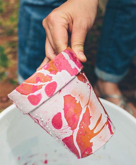 DIY Nail Polish Marbled Planters