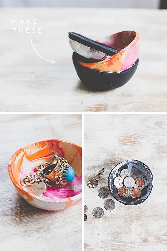 DIY Marbled Mini Clay Bowls