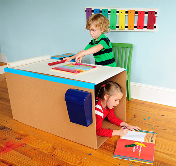 DIY Cardboard Pop-Up Desk for Kids