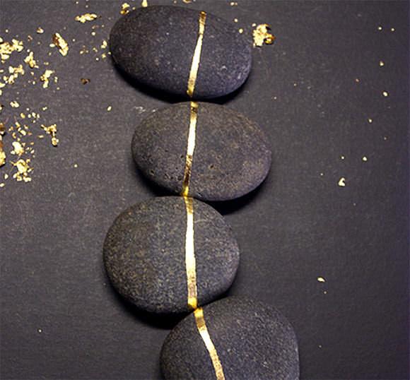 DIY Gold Leaf Rocks via Design*Sponge