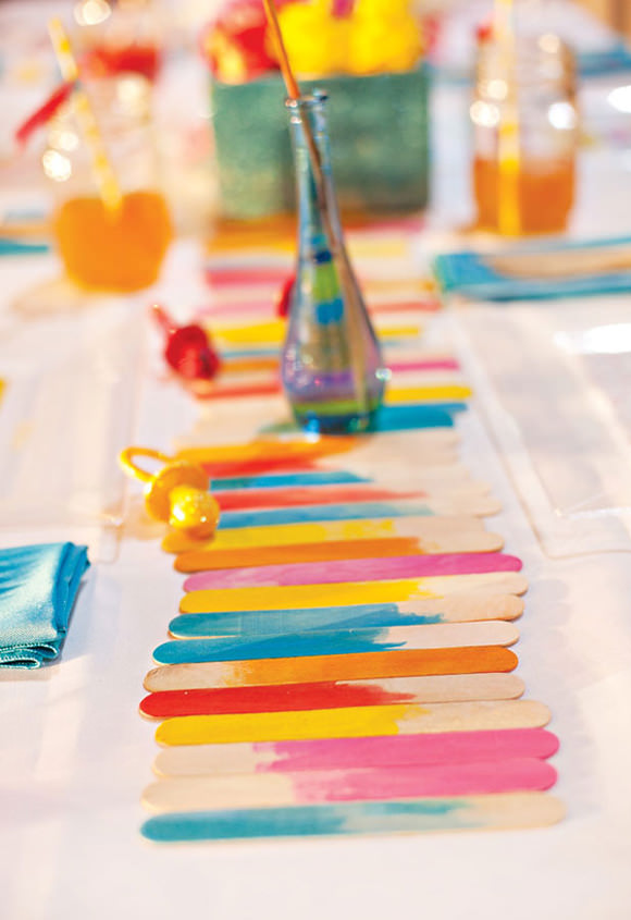 DIY Popsicle-Stick Watercolor Table Runner
