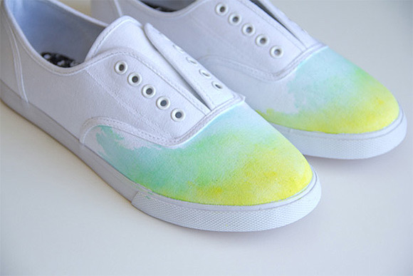 DIY Ombre Watercolor Shoes