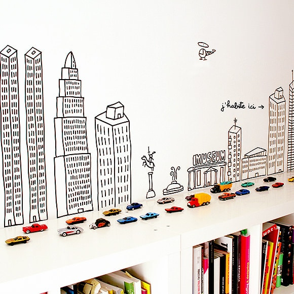 Bookshelf Ideas for Kids' Rooms // bookshelf city playscape