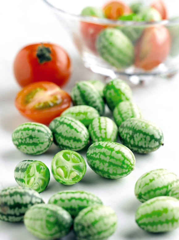 Coolest veggie ever—cucamelon, size of a grape and tastes like a cucumber (with a bit of sour), via abby wilkinson