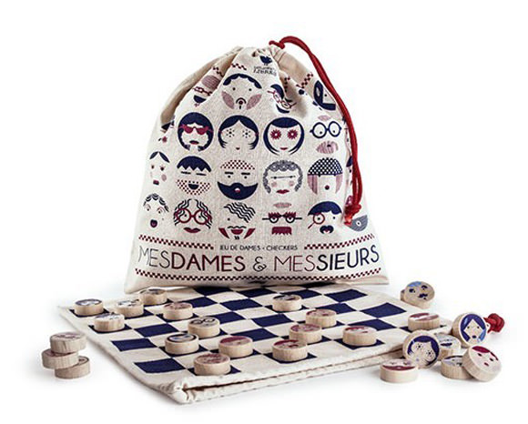 French Cloth Checkers Board Game & Bag for Kids