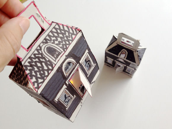 DIY Light-Up Cereal Box Spooky Houses for Halloween