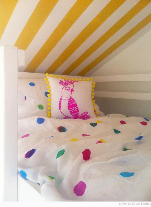 Yellow Striped Kid's Loft Bedroom by Janine at Kelani Fabric Obsession