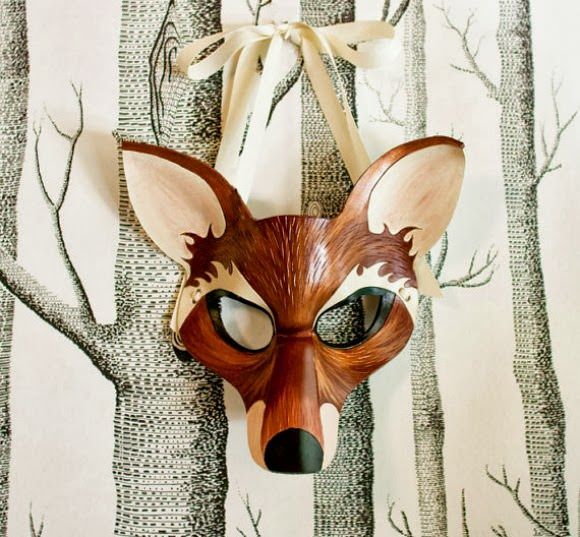 Handmade Leather Fox Mask (via sundries and plunder on etsy)