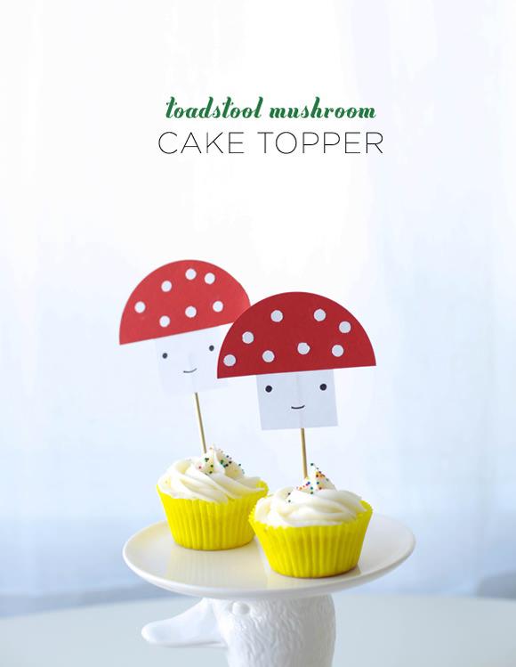 DIY Toadstool Mushroom Cake Topper