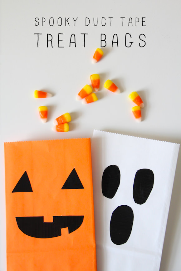 DIY Spooky Duct Tape Treat Bags for Halloween