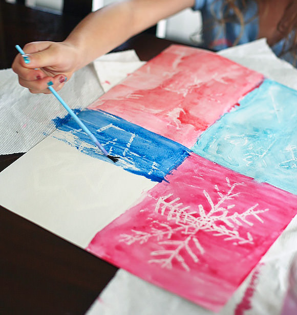 DIY Crayon Resist Snowflake Art for Kids