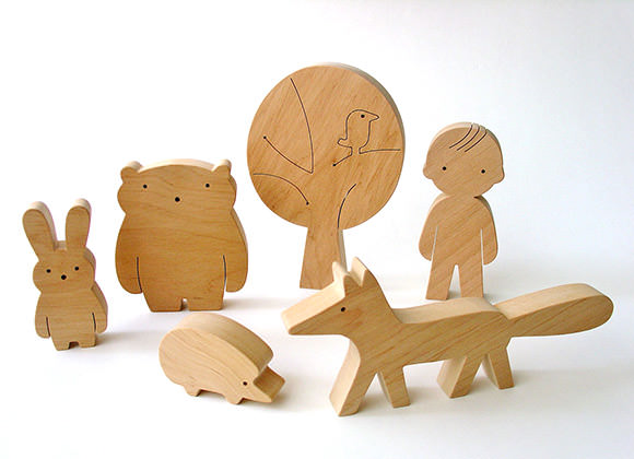 Wooden Animal Play Set from Mielasiela on Etsy