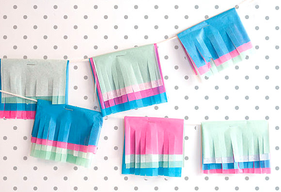 DIY Multicolored Tissue Garland